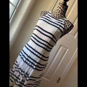 Ann Taylor Size 12 Blue White Striped Maxi Dress